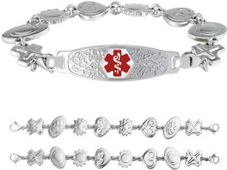 """Charm & Chain Divoti Custom Engraved Elegant Olive Medical Alert Bracelet -Retro Reversible Charm Chain -Red -8"""""""