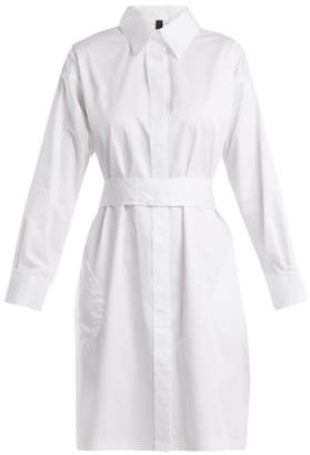 Norma Kamali Belted Cotton Poplin Shirtdress - Womens - White