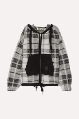McQ Shell-paneled Checked Cotton-blend Hoodie - Black