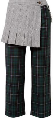Sandy Liang - Layered Checked Cotton-canvas Straight-leg Pants - Emerald