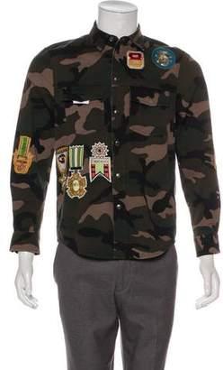 Valentino 2018 Camouflage Military Patchwork Shirt Jacket