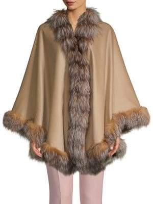 Dyed Fox Fur-Trimmed Cashmere & Wool Cape