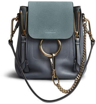 Chloé Faye Backpack Smooth/Suede Mini Cloudy Blue