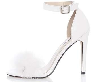 Quiz White Feather Heel Sandals