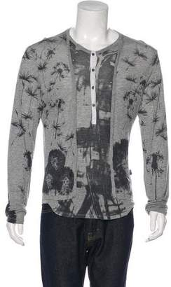 Just Cavalli Printed Henley T-Shirt