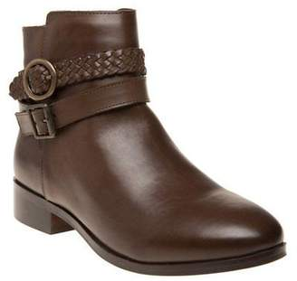 Sole New Womens Brown Brindle Leather Boots Ankle Buckle
