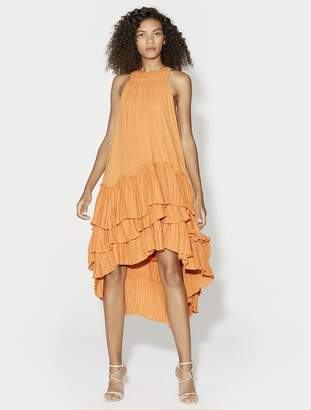 Halston SLEEVELESS HIGH NECK DRESS WITH FLOWY PLEATED SKIRT