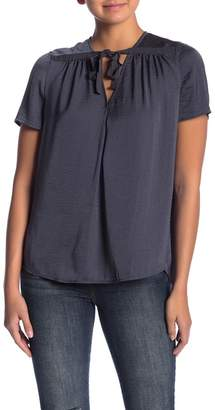 Lucky Brand Washed Satin Tie Neck Tee