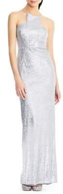 Adrianna Papell Sequined Long Halter Dress