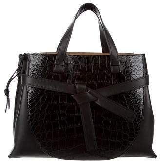 Loewe Alligator-Trimmed Gate Top Handle Bag