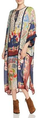 Johnny Was Winery Printed Silk Caftan Dress