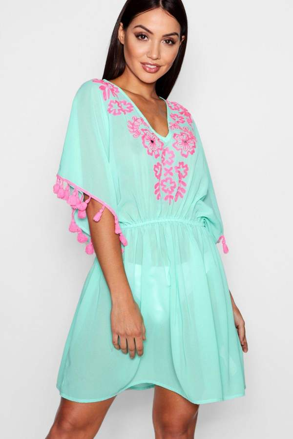 boohoo Jess Embroidered Tassel Beach Kaftan