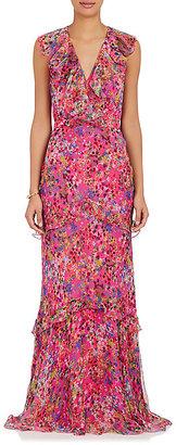 Saloni Women's Rita Floral Silk Maxi Dress $795 thestylecure.com