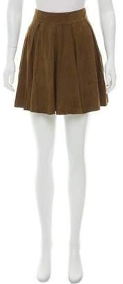 Alice + Olivia Suede Pleated Skirt