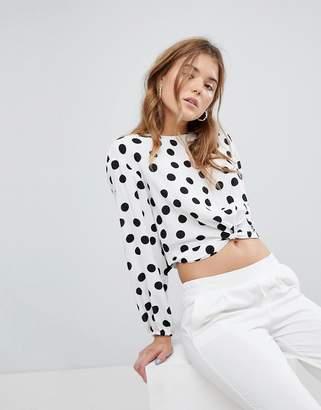Bershka Polka Dot Print Twist Front Blouse