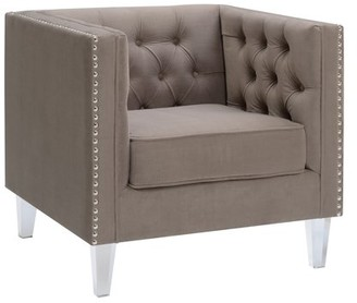 clear AC Pacific Ariel Collection Contemporary Polyester Velvet Fabric Upholstered Button Tufted Silver Nailhead Accented Living Room Tuxedo Arm Chair with Acrylic Legs, Taupe
