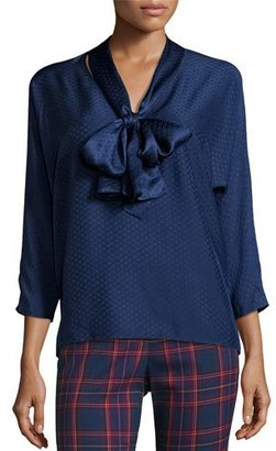 Trina Turk 3/4-Sleeve Silk Jacquard Tie-Neck Top, Midnight $278 thestylecure.com