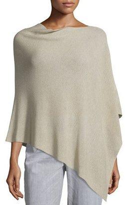 Eileen Fisher Sleek Tencel®/Wool Ribbed Poncho, Maple Oat, Plus Size $178 thestylecure.com