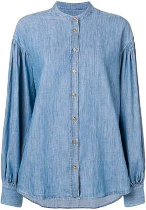 Closed band collar denim shirt