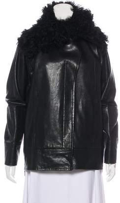 Zero Maria Cornejo Mongolian Lamb-Trimmed Leather Jacket