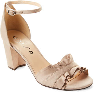 Unisa Taupe Danni Ruffle Ankle Strap Sandals