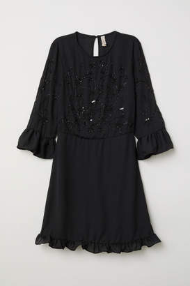 H&M Dress with Beaded Embroidery - Black