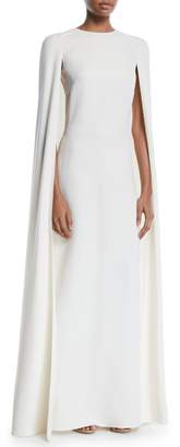 Valentino Silk Jewel-Neck Cape-Back Gown