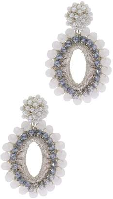 Saachi Delhi White Beaded Oval Cutout Drop Earrings