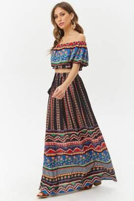 Forever 21 Crinkled Geo Maxi Skirt