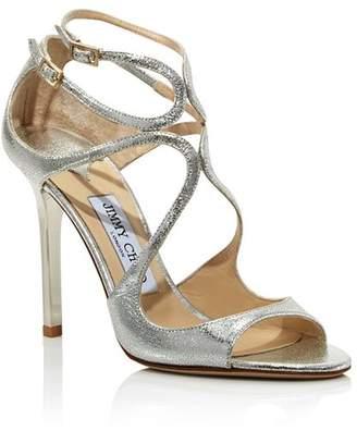 Jimmy Choo Women's Lang 100 Crackled Metallic Leather High-Heel Sandals