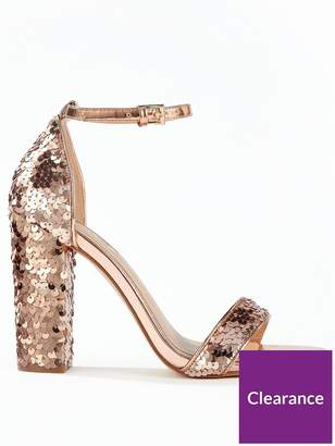 Miss Selfridge Sequin Block Heel