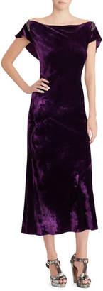 Ralph Lauren 50th Anniversary Rachelle Boat-Neck Velvet Midi Dress w/ Beaded-Embellished