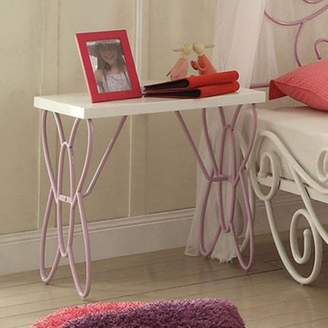 Acme Priya II Nightstand, White and Light Purple