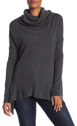 Susina Curved Hem Cowl Neck Shirt
