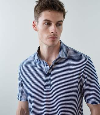 Reiss HALLAM LINEN BLEND POLO SHIRT Navy