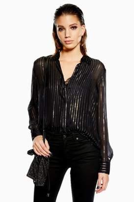 Topshop MeTallic Thread Stripe Shirt