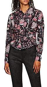 Isabel Marant Women's Tino Ruched Floral Crepe Blouse
