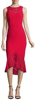 Aidan Mattox AIDAN Illusion Lace and Crepe Dress