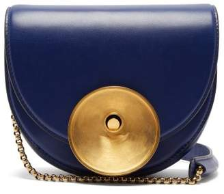 Marni Monile Half Moon Leather Cross Body Bag - Womens - Dark Blue