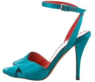 Saint Laurent Satin Ankle Strap Sandals