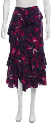 Tanya Taylor Silk Printed Skirt