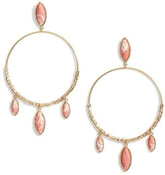 Gorjana Palisades 18K Yellow Gold Plated Rhodonite Fringe Hoop Drop Earrings