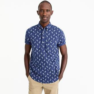 J.Crew Short-sleeve popover shirt in paisley print cotton-linen