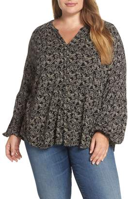 Lucky Brand Button Front Print Top