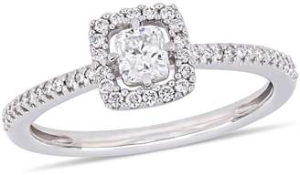 Concerto 14K White Gold 0.5 CT. T.W. Diamond Cushion-Cut Floating Halo Engagement Ring