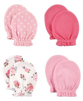Luvable Friends Baby Girl Scratch Mittens 4-Pack