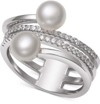 Belle de Mer Cultured Freshwater Pearl (6mm) & Cubic Zirconia Coil Ring in Sterling Silver