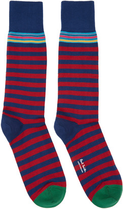 Paul Smith Navy & Red Two Stripe Socks $30 thestylecure.com