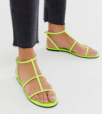 Pull&Bear multi strap sandals in neon green