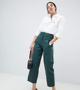 Asos DESIGN Balloon Leg Pants With Detachable Back Pocket In Forest Green